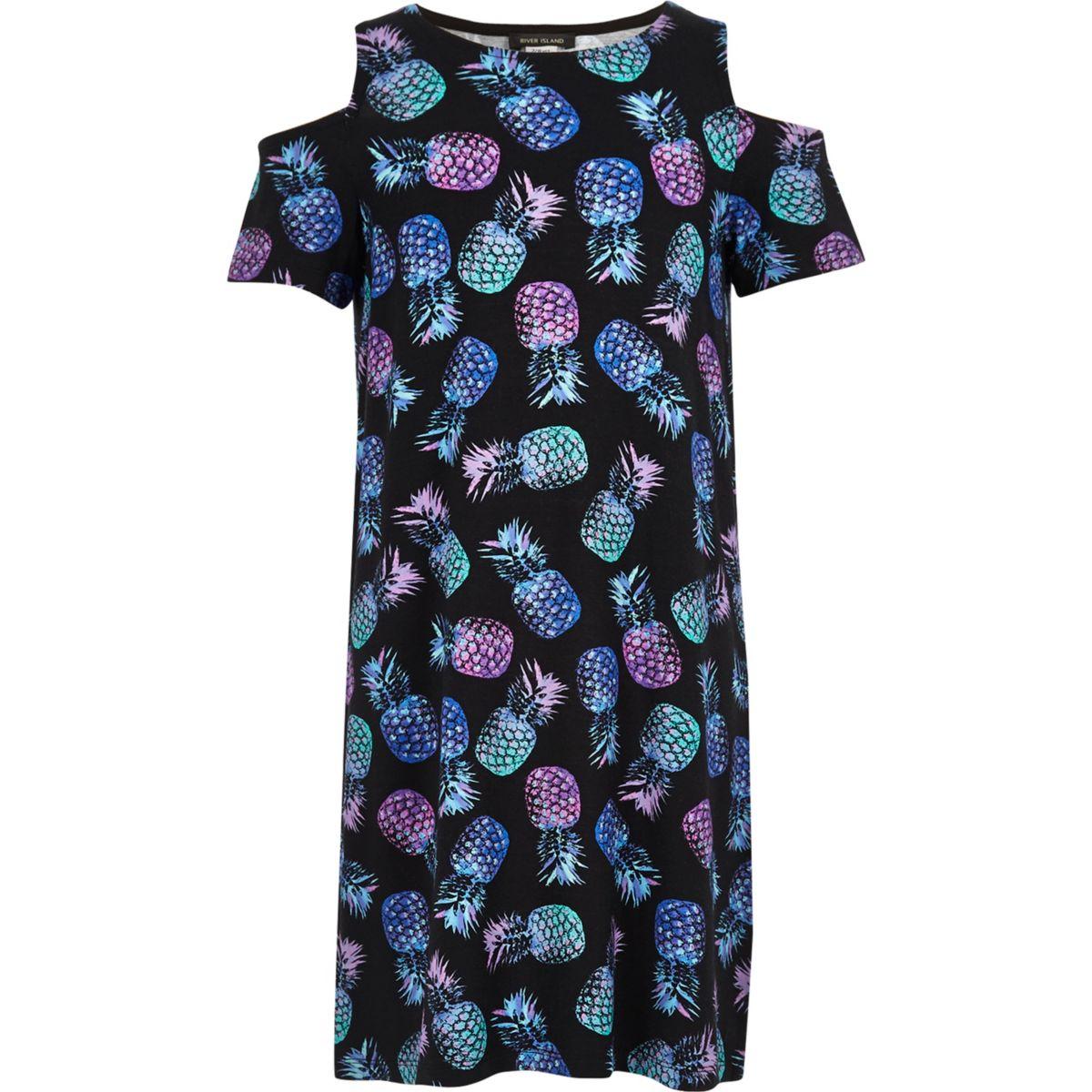 Girls black print cold shoulder T-shirt dress
