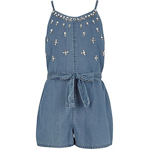 Girls blue denim embellished cami romper