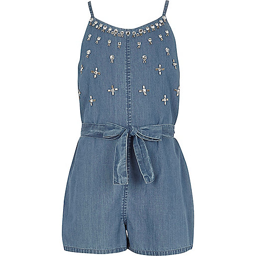 Girls blue denim embellished cami playsuit