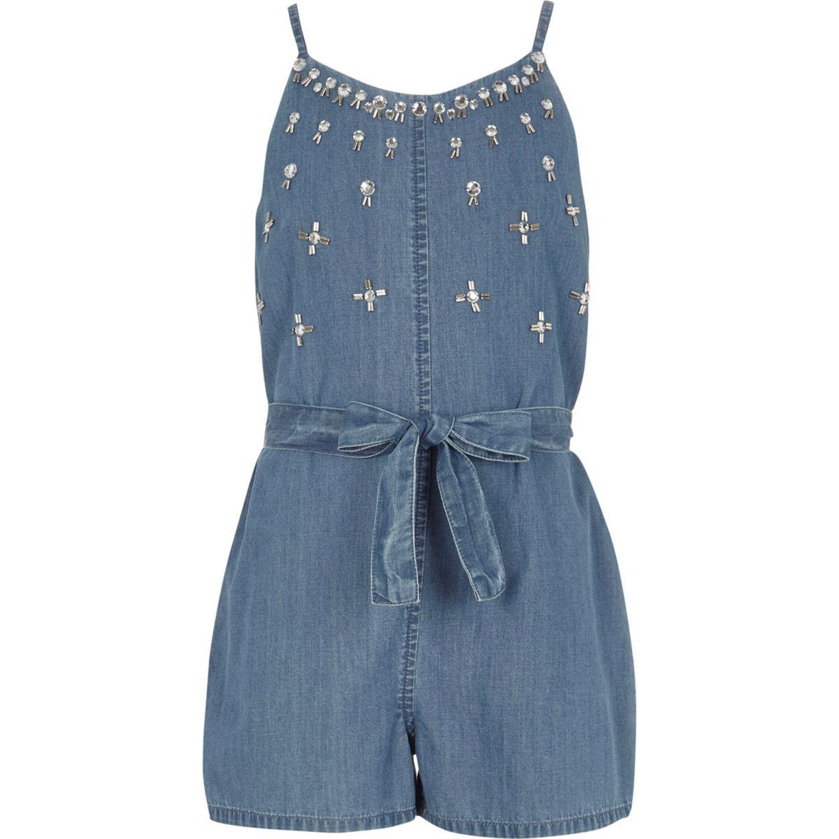 Girls blue denim embellished cami playsuit