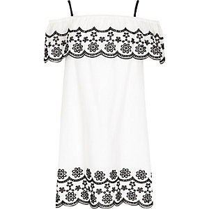 Girls white mono embroidered frill dress