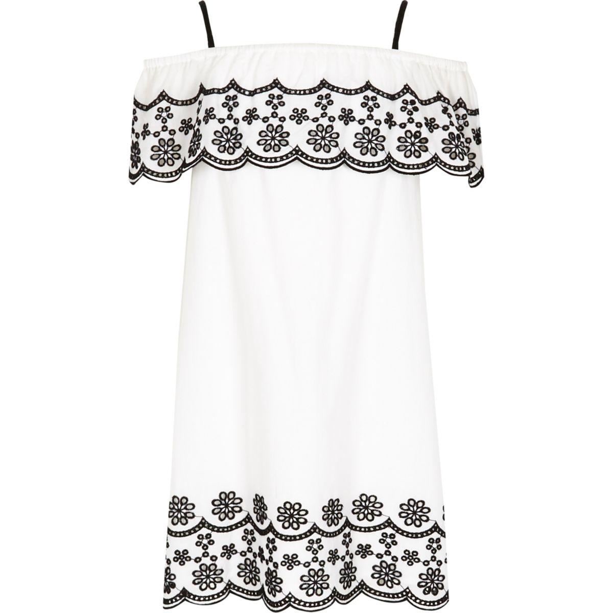 Girls white mono embroidered frill dress