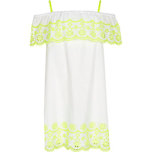 Girls white fluro embroidered frill dress