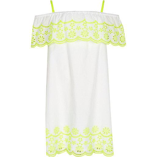 Girls white fluro embroidered frill dress