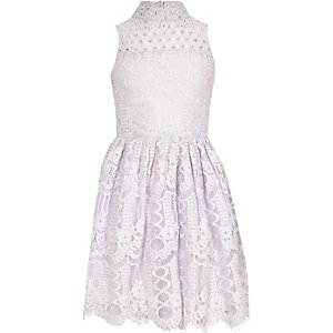 Girls purple lace high neck prom dress