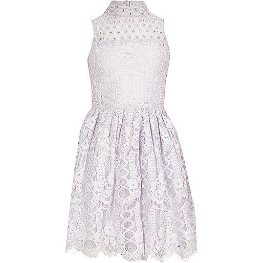Girls purple lace high neck prom dress