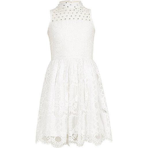 Girls cream lace sleeveless prom dress