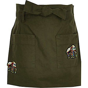 Girls khaki green elephant badge skort