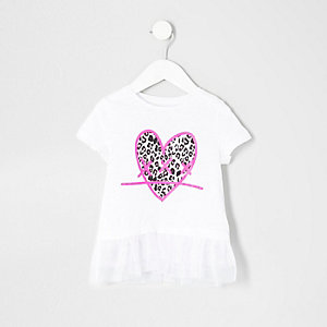 Mini girls white heart print mesh hem T-shirt