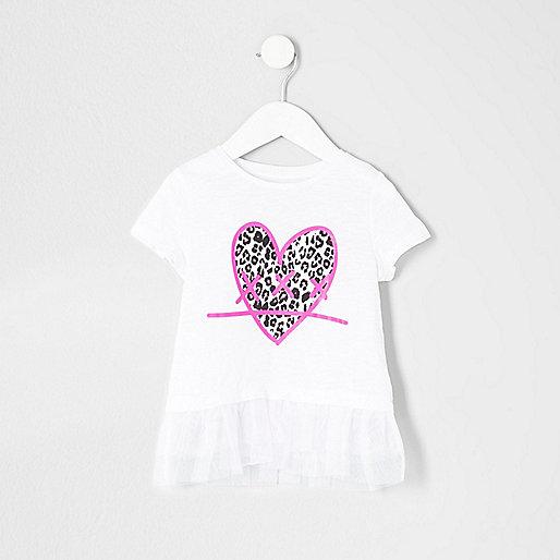 Mini girls white heart print mesh hem T-shirt