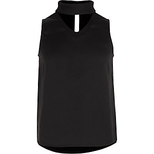 Girls black choker sleeveless top