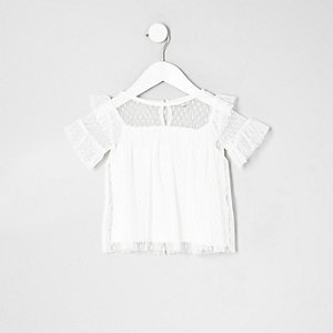 Mini girls white dobby mesh frill top