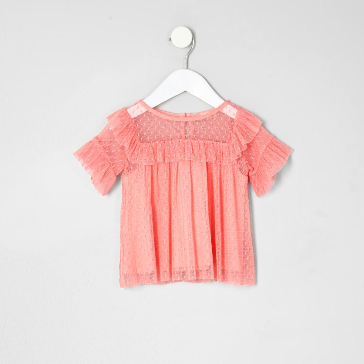 Mini girls coral dobby mesh frill top