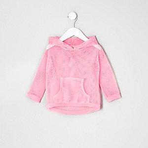Mini girls pink mesh hoody