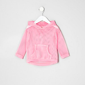 Mini girls pink mesh hoody