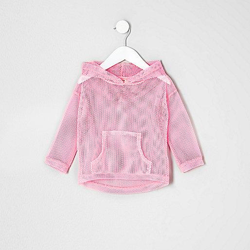 Mini girls pink mesh hoodie