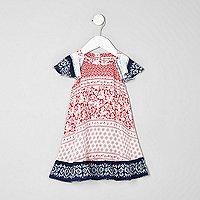 Mini girls red tile print flare sleeve dress