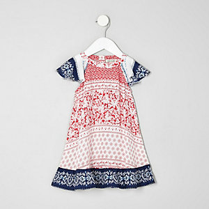 Mini girls red tile print flare sleeve dress