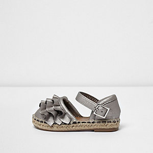 Mini girls silver ruffle espadrilles