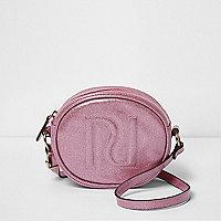 Girls pink glitter circle cross body bag