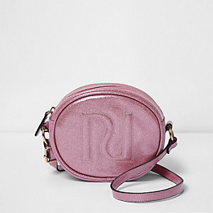 Girls pink glitter circle cross body bag