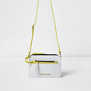 Girls white and yellow cross body satchel bag