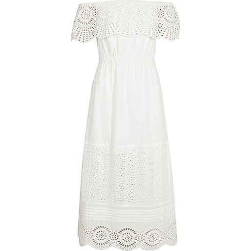 Girls white lace frill bardot maxi dress