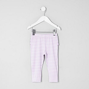 Mini girls lilac gingham ruffle leggings