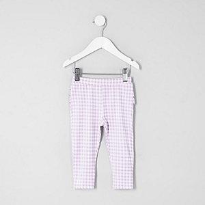 Mini - Lila legging met ruches en gingham-ruit voor meisjes