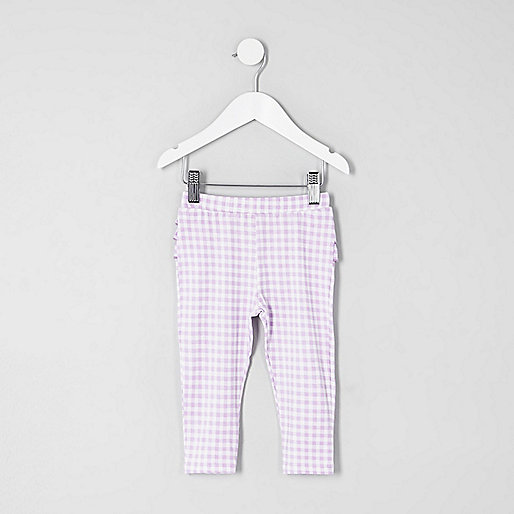 Mini girls lilac gingham ruffle leggings