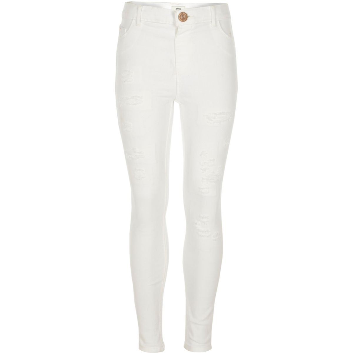 Girls white Molly ripped jeggings