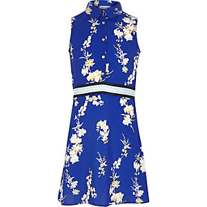 Girls blue floral print sleeveless tea dres