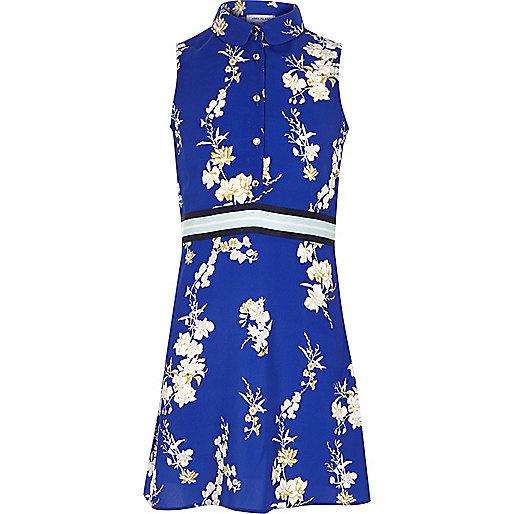 Girls blue floral print sleeveless tea dres