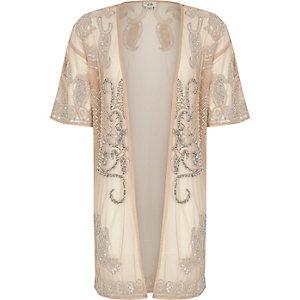 Kimono long rose orné pour fille