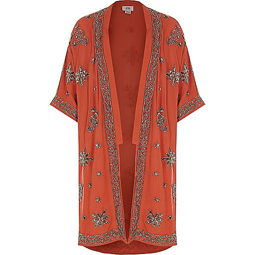 Girls rust orange embellished kimono