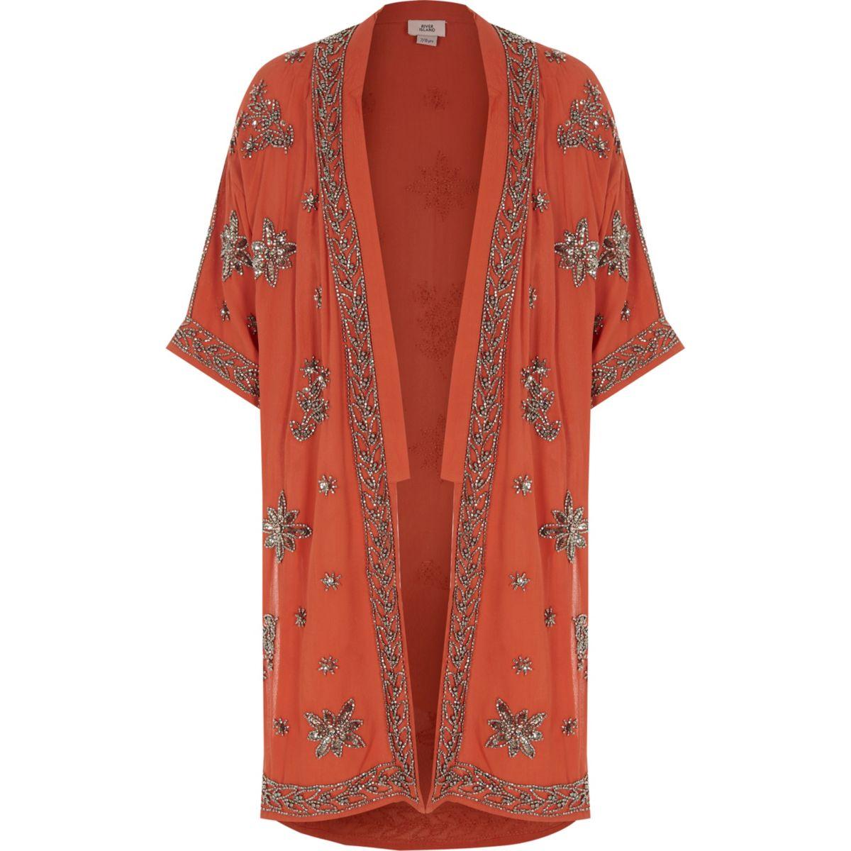 Girls rust orange embellished kimono
