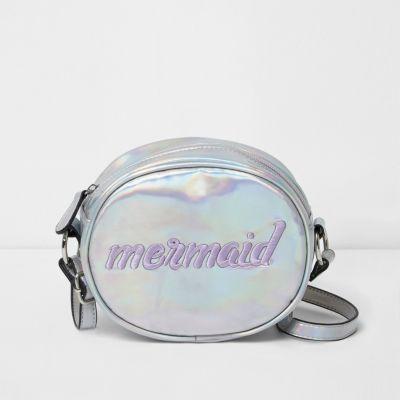 Zilverkleurige iriserende ronde tas met mermaid'-print voor meisjes