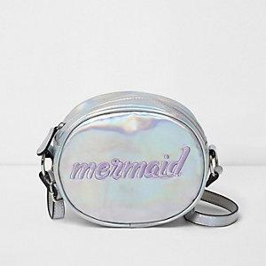 Girls silver iridescent 'mermaid' round bag