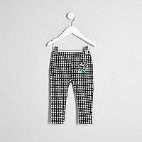 Mini girls black gingham ruffle leggings