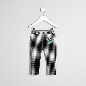 Mini girls black gingham ruffle leggings