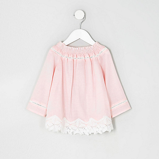 Mini girls pink lace crochet bardot top