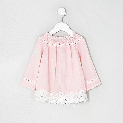 Mini girls pink lace crochet bardot top