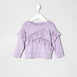 Mini - Paars sweatshirt met ruches voor meisjes