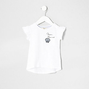 Mini girls white 'mermaid' pocket T-shirt