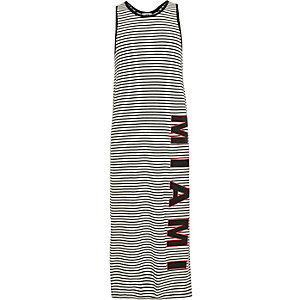 Girls white stripe print maxi dress