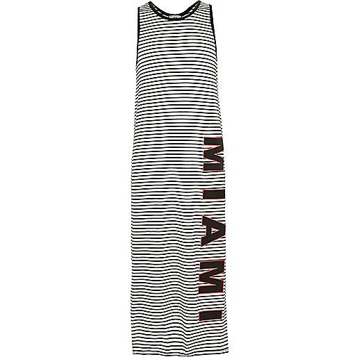 Girls white stripe print maxi dress