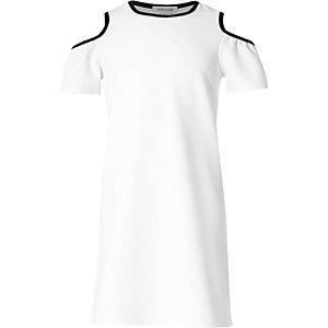Robe blanche à liseré à épaules dénudées pour fille