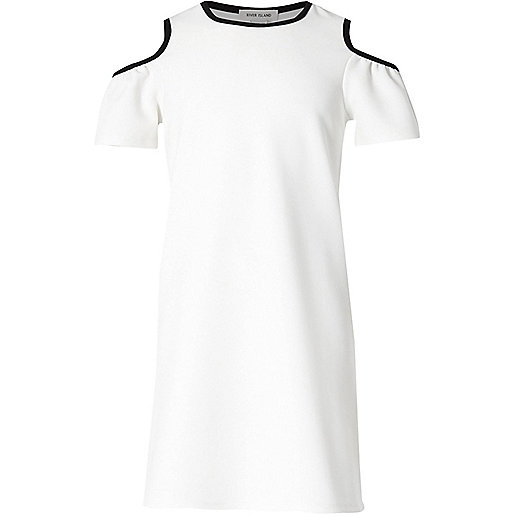 Girls white tipped cold shoulder dress