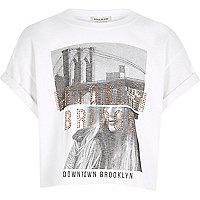 Girls white print cropped T-shirt