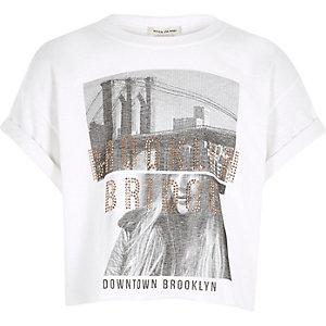 T-shirt court imprimé blanc pour fille